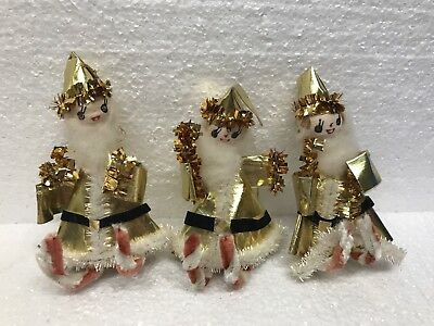 3 Vintage Chenille Santa Claus Christmas Ornaments pipe Cleaner Elf Elves Gold