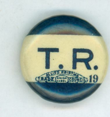 1904 Theodore Teddy Roosevelt T.R. Pinback Campaign Button w/ Paper Backing