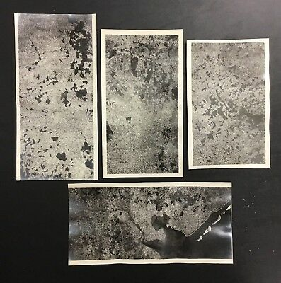LOT (4) VINTAGE ORIGINAL AERIAL Photograph SATELLITE WWII RARE UNKOWN