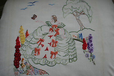 Charming Early Vintage Hand Embroidered Crinoline Lady Panel.