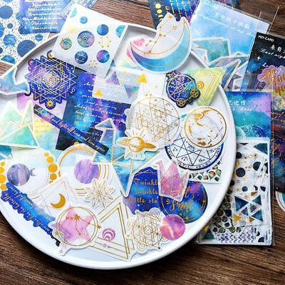 60 Sheets/Pack Shape Phone Decor Galaxy Stickers Paper Sticker Diary Label