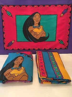 VINTAGE 90's POCAHONTAS TWIN SIZE 3PC SHEET SET DISNEY Flat, Fitted Pillow Case