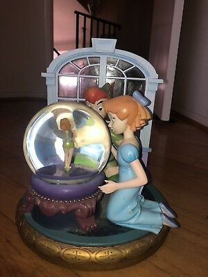 "Disney's Peter Pan - Wendy And Tinkerbell Snow Globe Music Box ""You Can Fly""Tune"