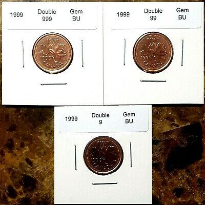 Canada 1999 Small Cent *Double 9 - 99 - 999* UNC MS Gem BU Set!!