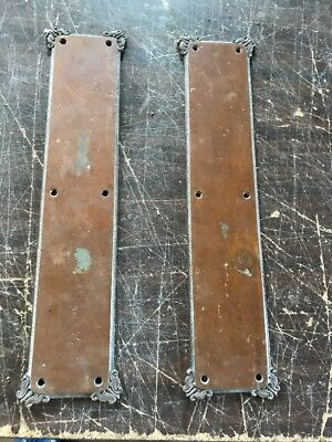 P 17 Matched Pair Cast Brass Bronze Passage Door Push Plates 15 1/8 X 3.5