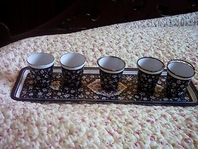 Antique Persian enamel on copper tray with 5 cups.