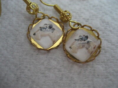 Reverse carved & painted Jack Russell or Fox Terrier vintage intaglio earrings .
