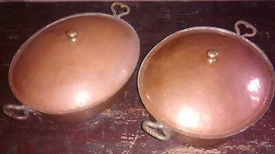 2 x vintage copper casserole dishes with lids, shallow, tin lined, brass handles