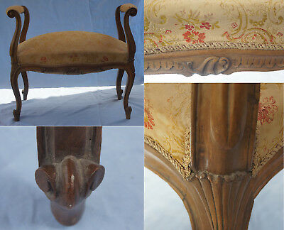 Antique French Louis XV / Rococo style cabriole leg whorl foot window stool seat