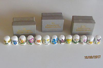 Rare And Retired  Botanic Garden Coll. Club Thimble Set Of 13