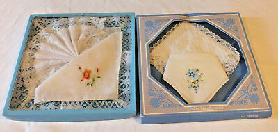 2 x VINTAGE Boxed LADIES Hankies Handkerchiefs cotton and lace Bridal Wedding