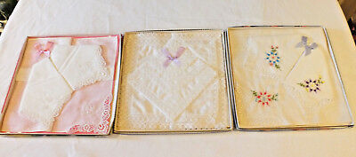 3 x VINTAGE Boxed LADIES Hankies Handkerchiefs cotton and lace Bridal Wedding