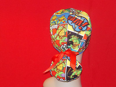 Ponytail Surgical Scrub Hat Cap Cuffed Women Lady Medical Handmade Ninja Turtles