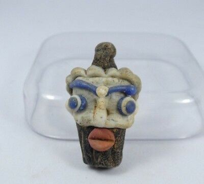 UNIQUE Ancient Roman Mosaic Face Glass Pendant 32*20*13mm|Ancient Face Bead |M#6