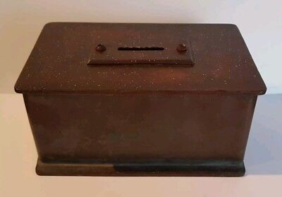 SUPERB rare antique 19th century bronze church collection coffer security box.