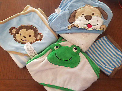 Lot of three hooded baby towels plus one washcloth
