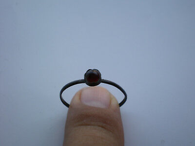 Rare Ancient Antique ROMAN  BRONZE RING and Red Stone