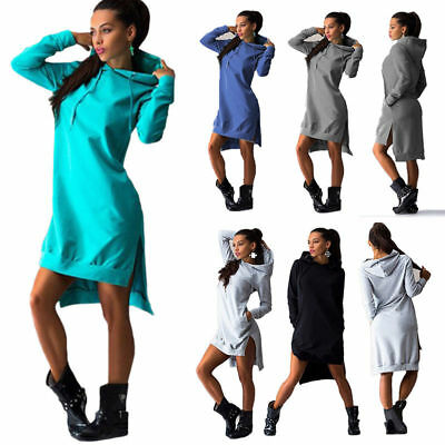 Women's Hooded Bodycon Sweatshirt Ladies Hoodies Long Sleeve Casual Jumper Dress