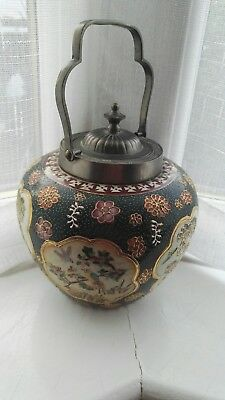antique oriental  jar with metal lid and handle beautiful