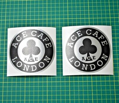 2x Ace Cafe Stickers Decals - Cafe Racer - BLACK & CHROME Motorbike Motorcycle