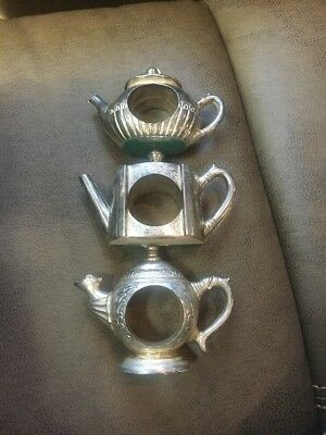 TEA POTS Silver Plated Napkin Rings Godinger Silver Co 1994