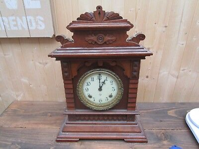 Antique Wood Cased Ansonia Syria  8 Day Striking Clock For Restoration
