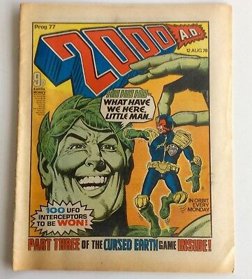 2000AD 2000 AD 77 12th Aug 78 Judge Dredd banned Jolly green giant Good cond