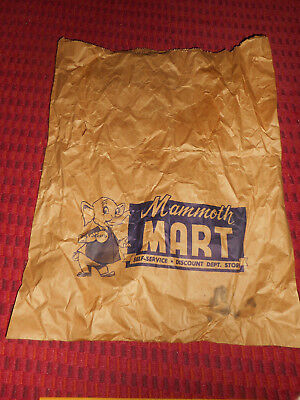 Vintage MAMMOTH MART Dept. Store Brown Paper Bag MARTY the Elephant Mascot Logo