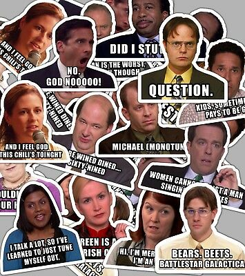 The Office Sticker Set with Quotes **Water Proof Stickers**