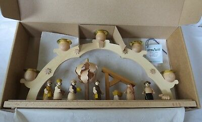 Straco Erzgebirge Germany Nativity Candle Arch Handpainted Wood 15 Inch New Nib