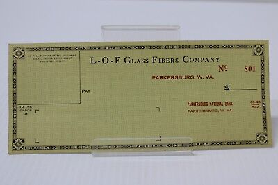 Lof Libbey Owens Ford Glass Fibers Co Parkersburg Wv Unused Check '40S Vitrolite