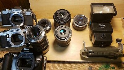 Vintage Camera Lot: Bodies, Lenses & Accessories. Sold As-Is, Not All Tested!