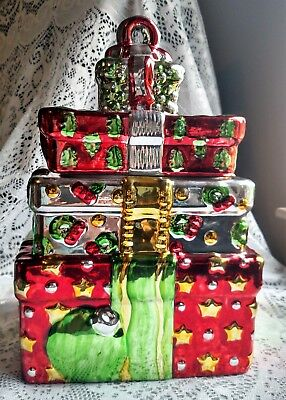 """Stacked Christmas Packages"" in Chrome/Metallic Cookie Jar"