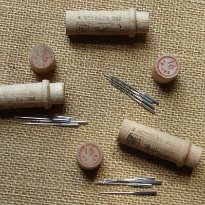 Antique Boye #16 40-100 Sewing Machine 12 Needles in 3 Round Wooden Case Tubes
