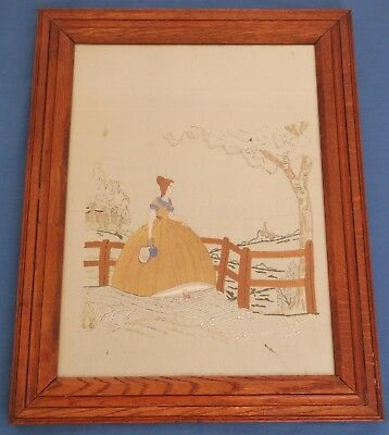 Vintage Antique Crinoline Lady Hand Embroidered Silk Picture Panel Oak Frame