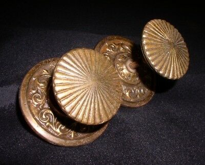 Pair Solid Cast Brass Bronze Desk Drawer Pulls / Knobs W/ Original Back Plates.