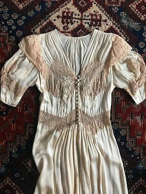 SUMPTUOUS 1930S 1940S 30s 40s Silk Chiffon Lace Button Night Gown ...