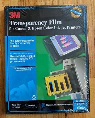 3M Transparency Film NEW for Canon & Epson Color Ink Jet Printers 50 Ct. 8.5x11""