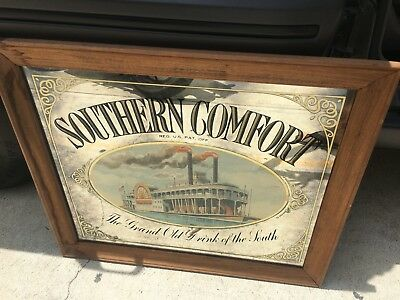 """Rare vintage Southern Comfort """"Steam Boat"""" Pub Glass Mirror Sign. 26""""x30"""""""