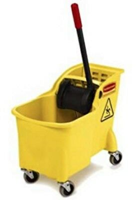 Rubbermaid FG738000YEL Tandem Bucket and Wringer Combo, 31-Quart Capacity 7380