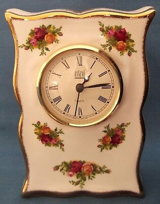 Vintage Royal Albert Old Country Roses China Mantel Clock 1962 Backstamp England