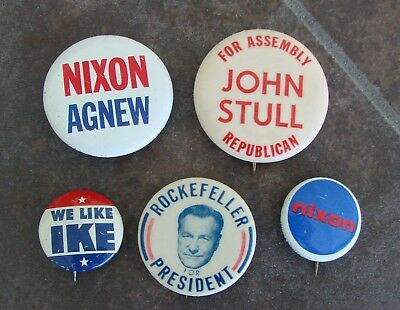 Mixed Lot of Vintage Political Campaign Buttons- Ike - Nixon/Agnew - Rockefeller