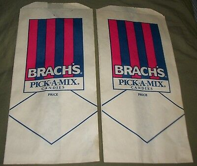 TWO VINTAGE 60s NOS BRACH'S PICK-A-MIX CANDIES WAXED PAPER BAGS NOSTALGIC PAIR