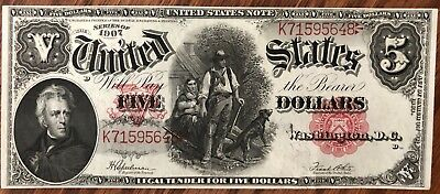 1907 $5 United States Legal Tender, Woodchopper