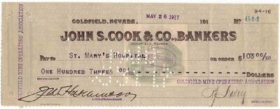1917 Check, JOHN S. COOK & CO., BANKERS, Goldfield, Nevada