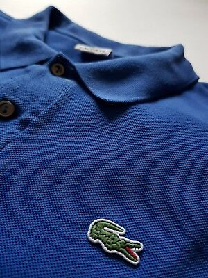 Vintage Lacoste polo shirt Circa 1980s Old style Size 8 UK XXL Blue
