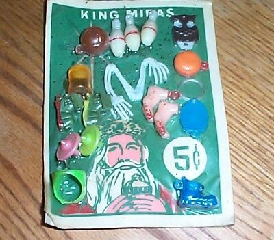 Vintage display card 5c charms and toys and rings and charms FREE SHIPPING #z24