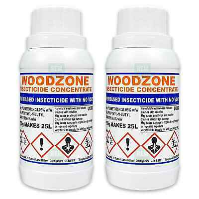 Woodzone 2 Professional Woodworm Treatment Killer Preservative Spray Concentrate