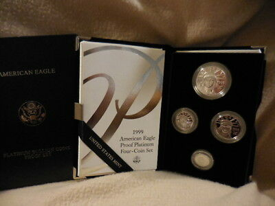 1999-W Platinum American Eagle Proof Four-Coin Set 1.85 oz. w/ Mint Box Case CoA