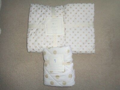 Pottery Barn Baby Toddler Gold Polka Dot Quilt Sham 2 Piece Bedding Set Coverlet